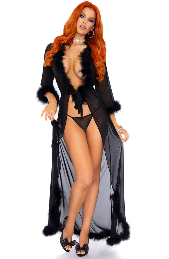 Black robe with marabou feather trim - French Night