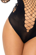 Load image into Gallery viewer, Black fence net & nylon bodysuit - Lucelia