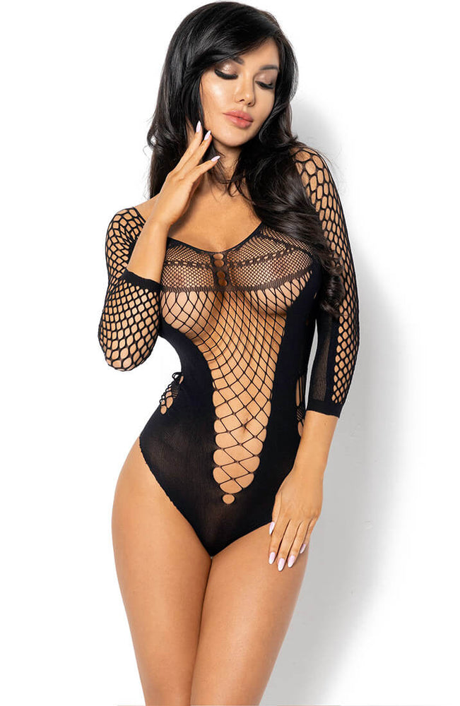 Black fence net & nylon bodysuit - Lucelia
