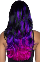 Load image into Gallery viewer, Black and purple Dip Dye wig