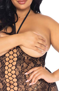 Black plus size bodystocking - Cupless Queen
