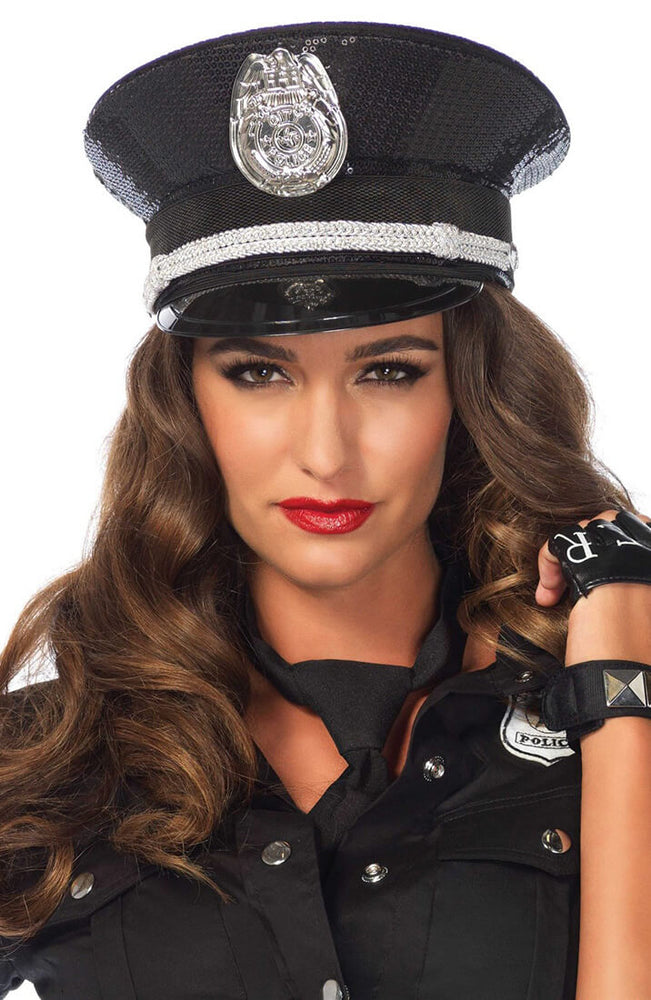 Black sequin police hat