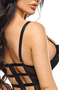 Black velvet bustier with suspenders - Monica