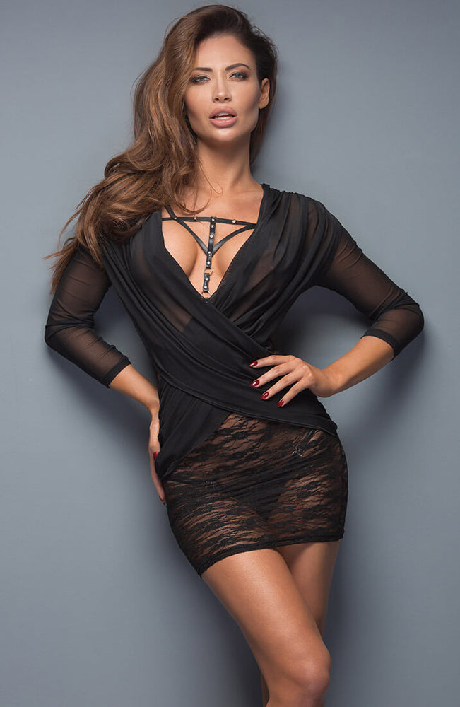 Black transparent lace dress - Black Flirt