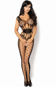 Black crotchless bodystocking with cut-out waist - Etain