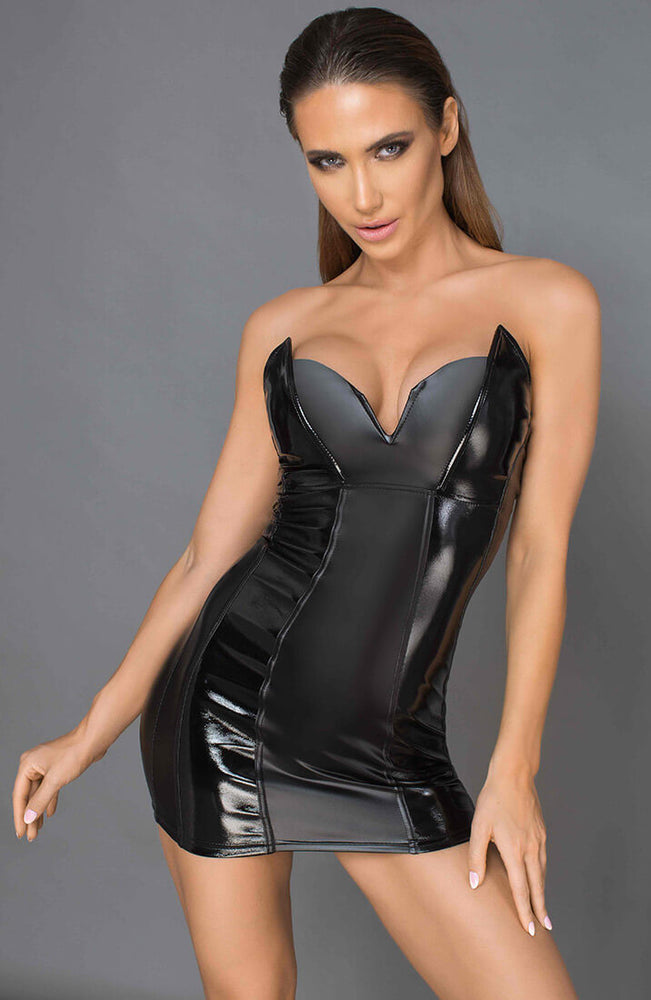Black wet look and lacquered dress - Defiant