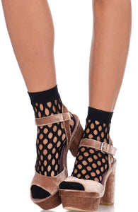 Black ankle highs with cut-out holes
