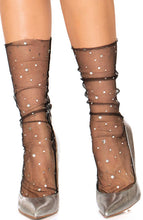 Load image into Gallery viewer, Black tulle ankle highs with stars and moons