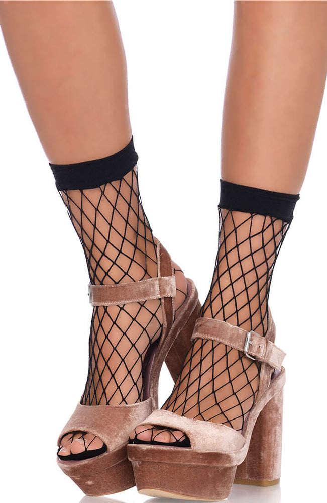 Black wide fishnet ankle highs