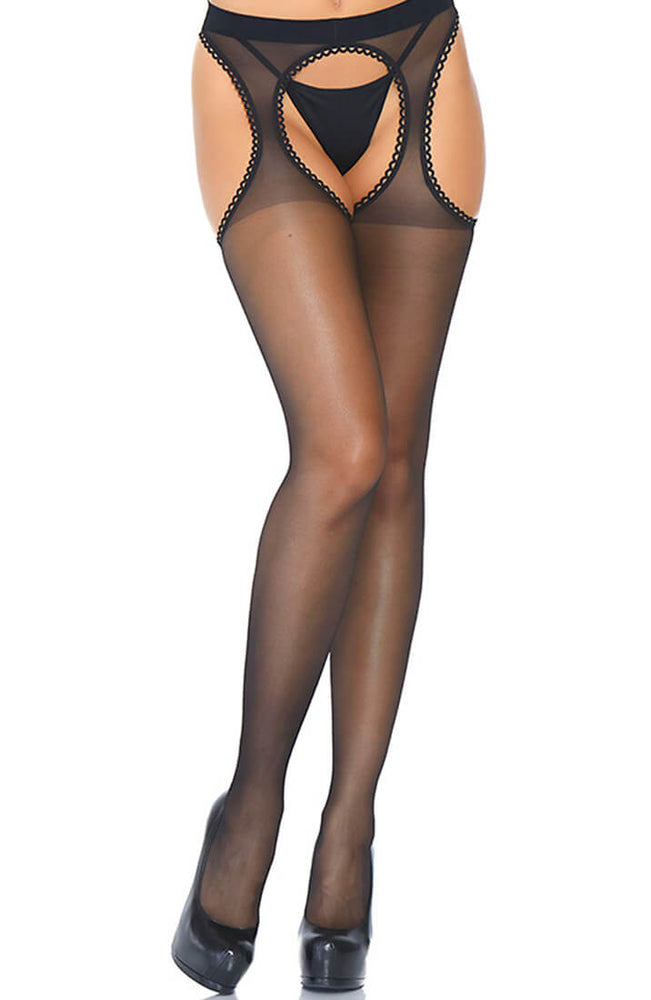 Black crotchless suspender pantyhose