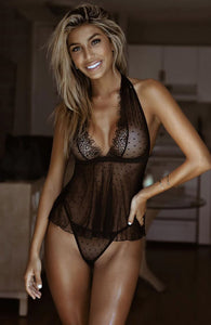 Black chemise - Dotted Doll