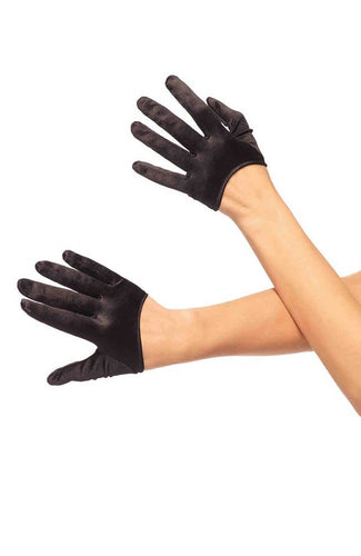 Black mini cropped satin gloves
