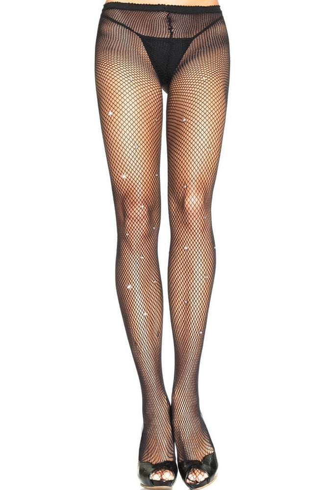 Black fishnet pantyhose with rhinestones