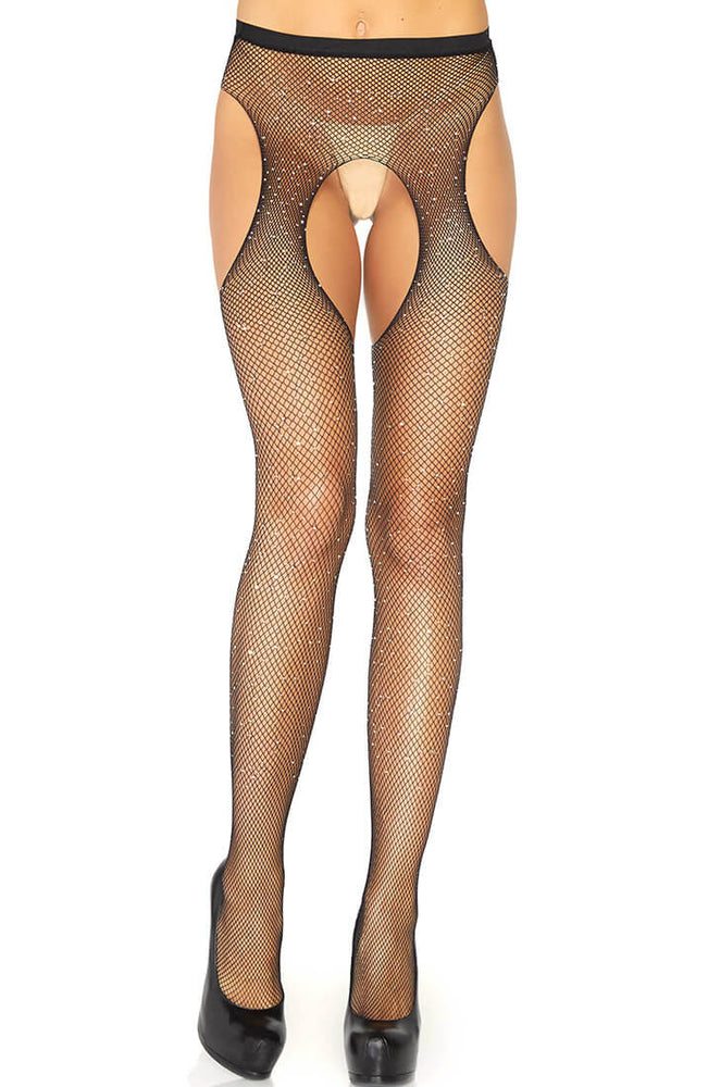 Crystalized suspender pantyhose