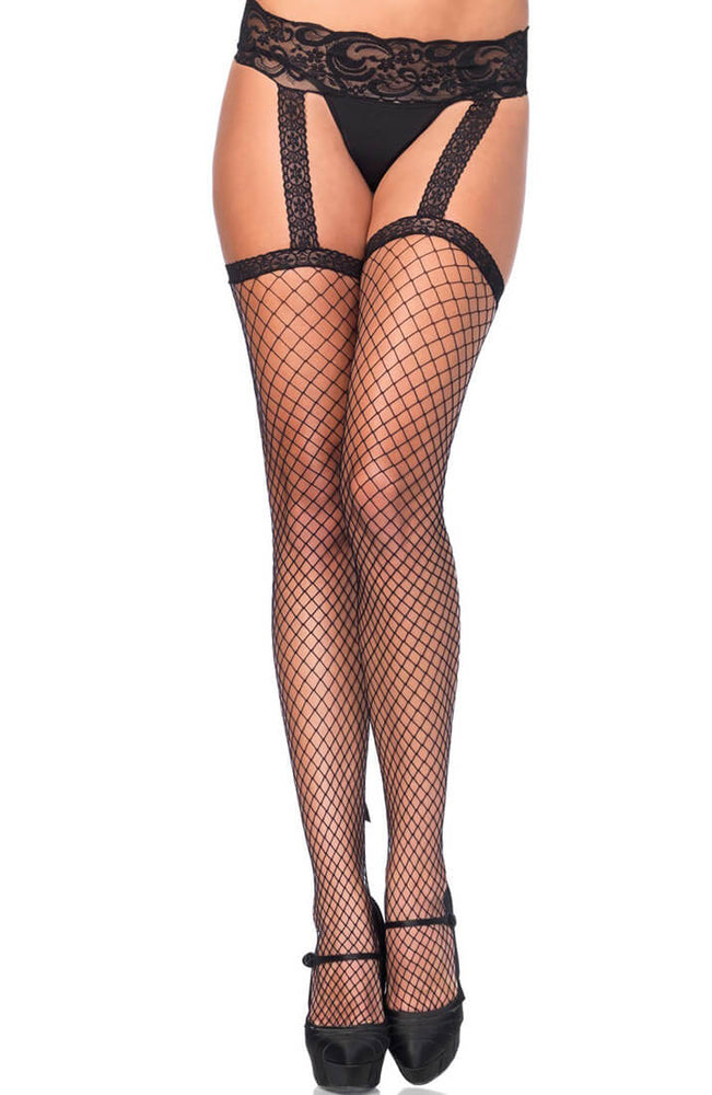 Fishnet stockings with garter belt