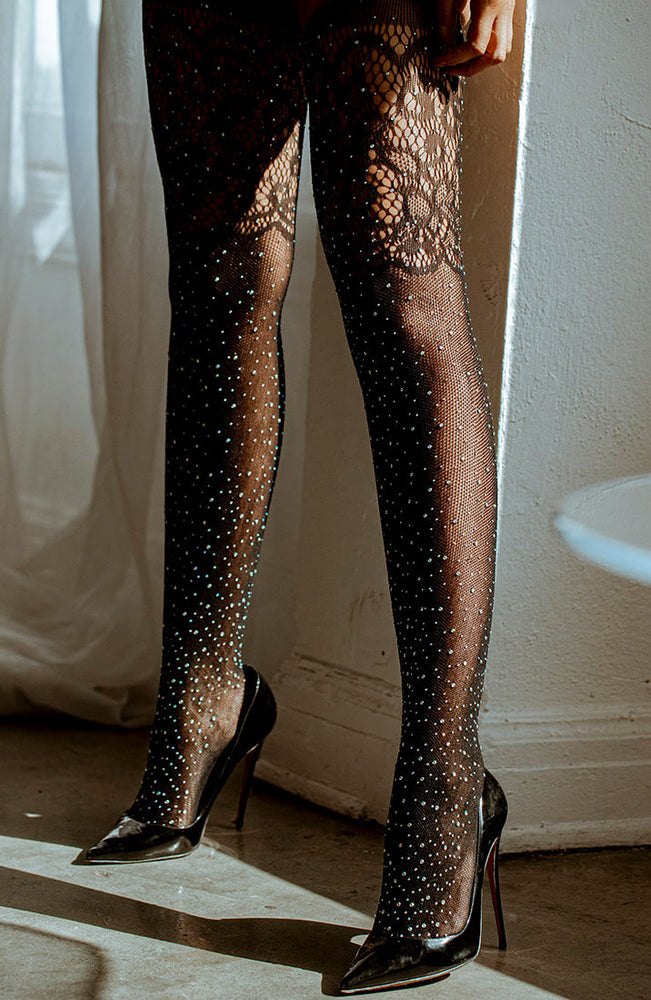Rhinestone fishnet thigh high stockings