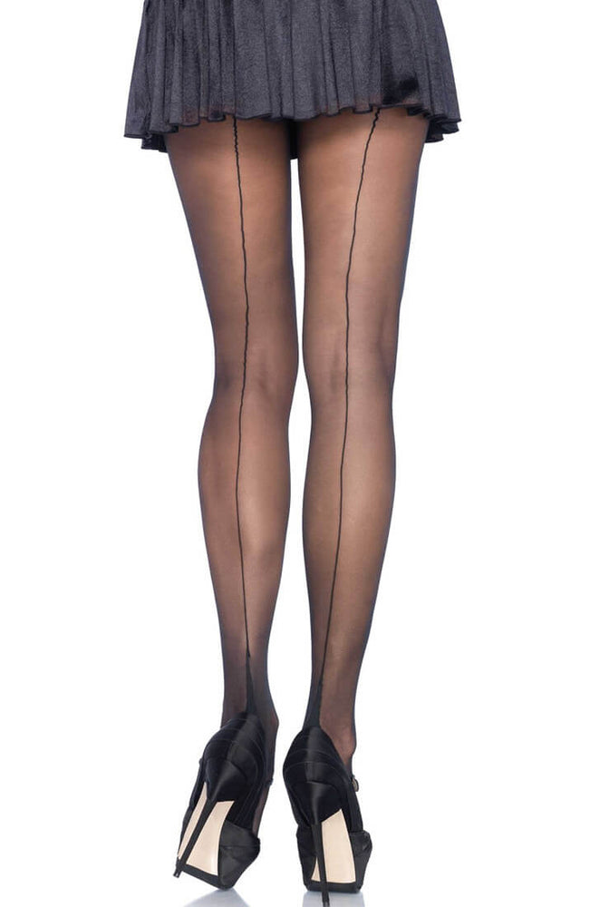 Black backseam pantyhose with cuban heel