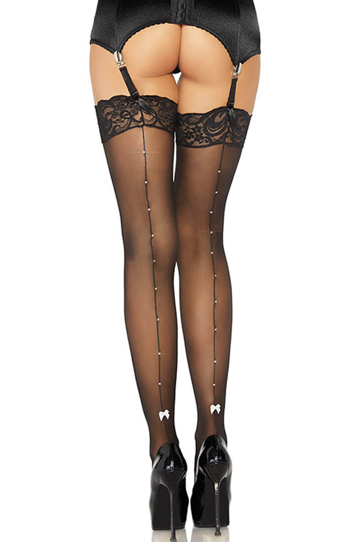 Black thigh highs with rhinestone backseam
