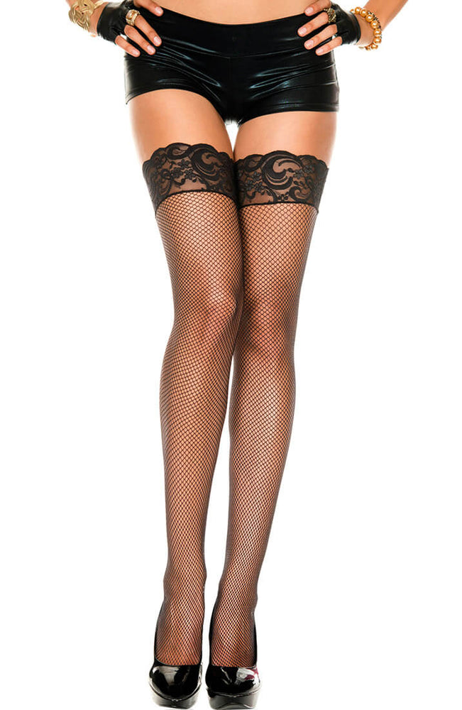 Fishnet lace top stay up stockings