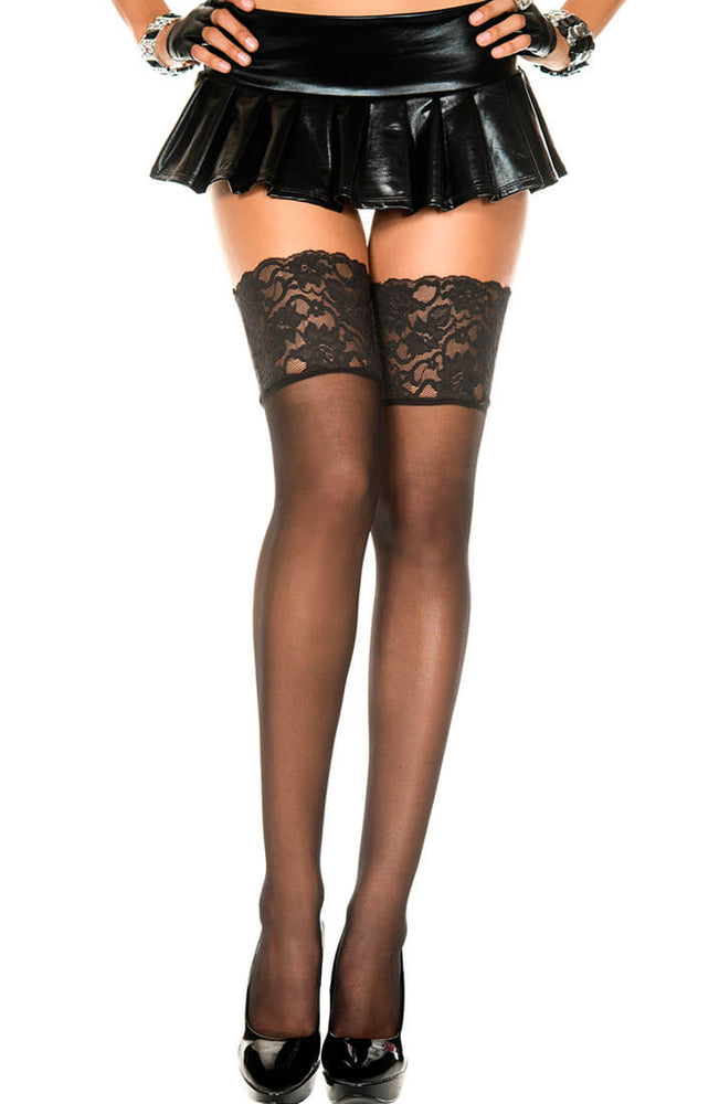 Black sheer thigh highs with wide lace topBlack sheer thigh highs with wide lace top