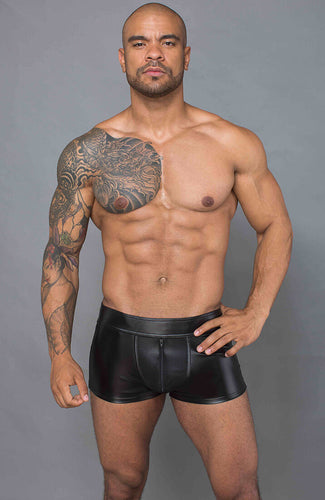 Black wet look boxer shorts - JAX