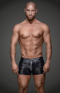 Wet look boxer shorts with zip - CRAVE