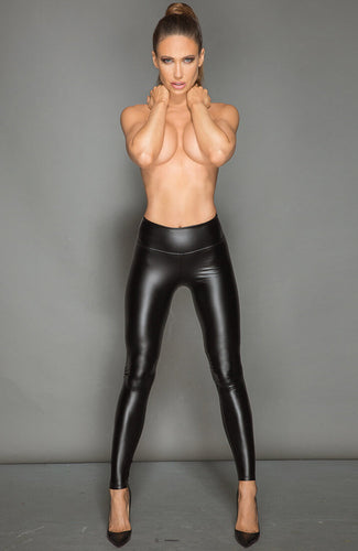 Black wet look leggings with PVC - #Bolshie