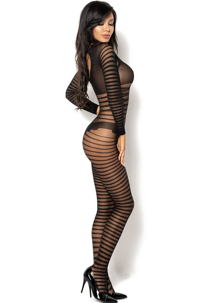 Striped black crotchless bodystocking - Ximena