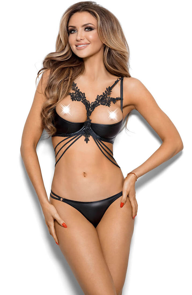 TITILLATING - Black wet look shelf bra with harness
