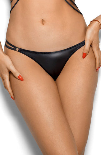 TITILLATING - Black wet look thong