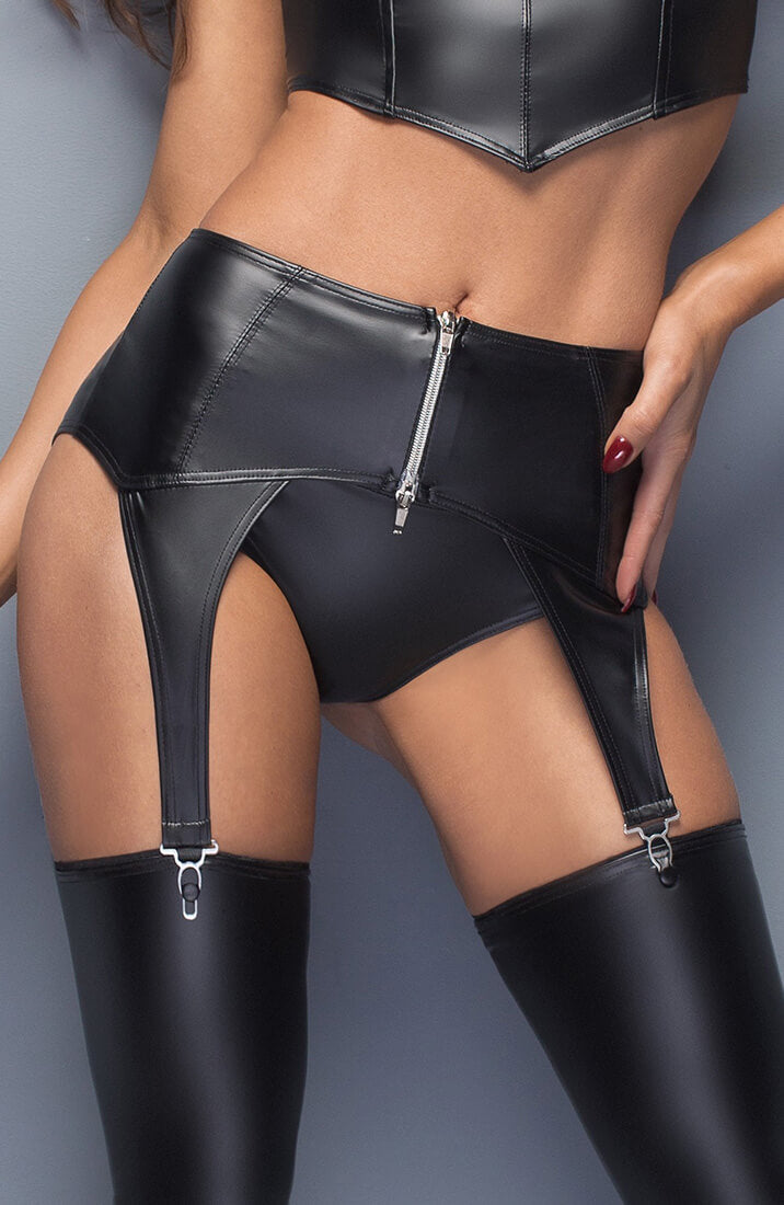 Wet look garter belt with zip - Thrill Me