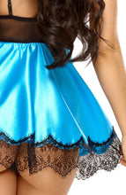 Load image into Gallery viewer, Turquoise satin chemise & blindfold - Ava