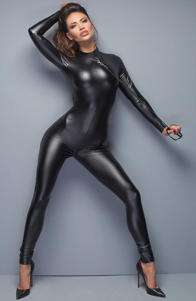 Wet look catsuit with leash - Two Way
