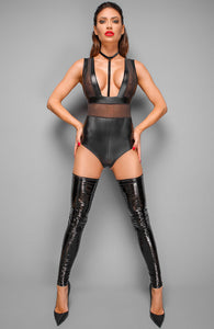 Wet look bodysuit with choker - On My Time