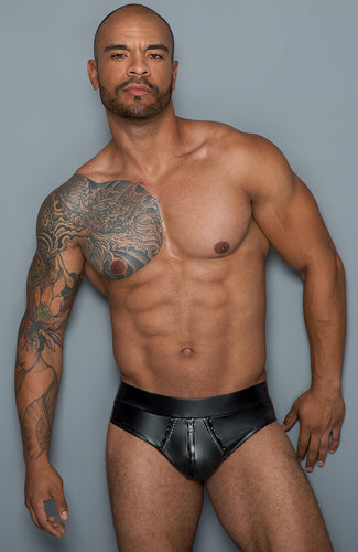 Wet look mini boxers with 2-way zip - Plan B