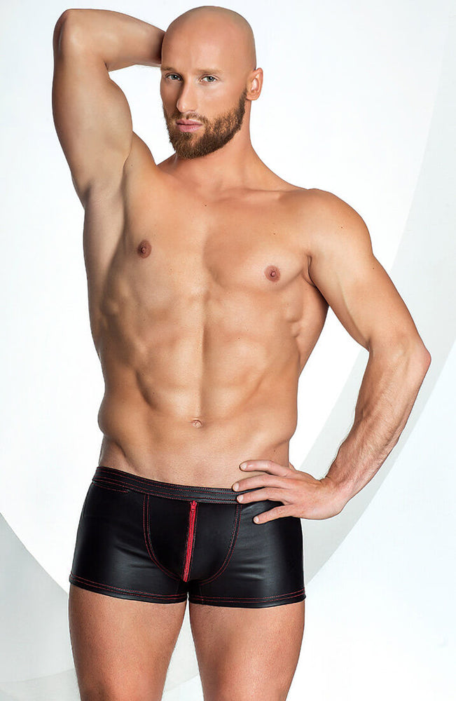 Wet look boxer shorts with red zip - Red Out