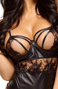 Black bustier with open cup - Sharon