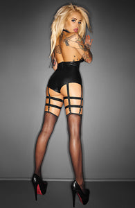 Wet look cage teddy with garter - OUTRAGEOUS