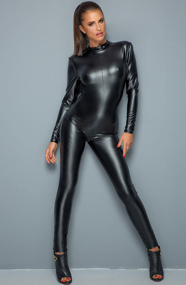 Wet look catsuit with open back - Swapping