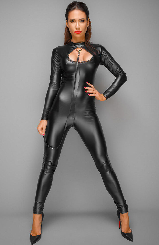 Wet look catsuit with leash - Shabby Chic