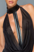 Load image into Gallery viewer, Mesh & wet look catsuit with embellished choker - Faux Passion