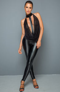 Mesh & wet look catsuit with embellished choker - Faux Passion