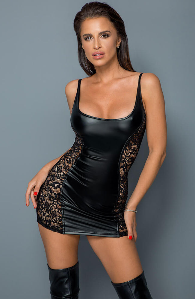 Lace & wet look mini dress - Better Than Revenge