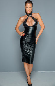 Wet look pencil dress embellished with stones - Coquette