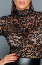 Load image into Gallery viewer, Lace & wet look pencil dress - Miss Behaved