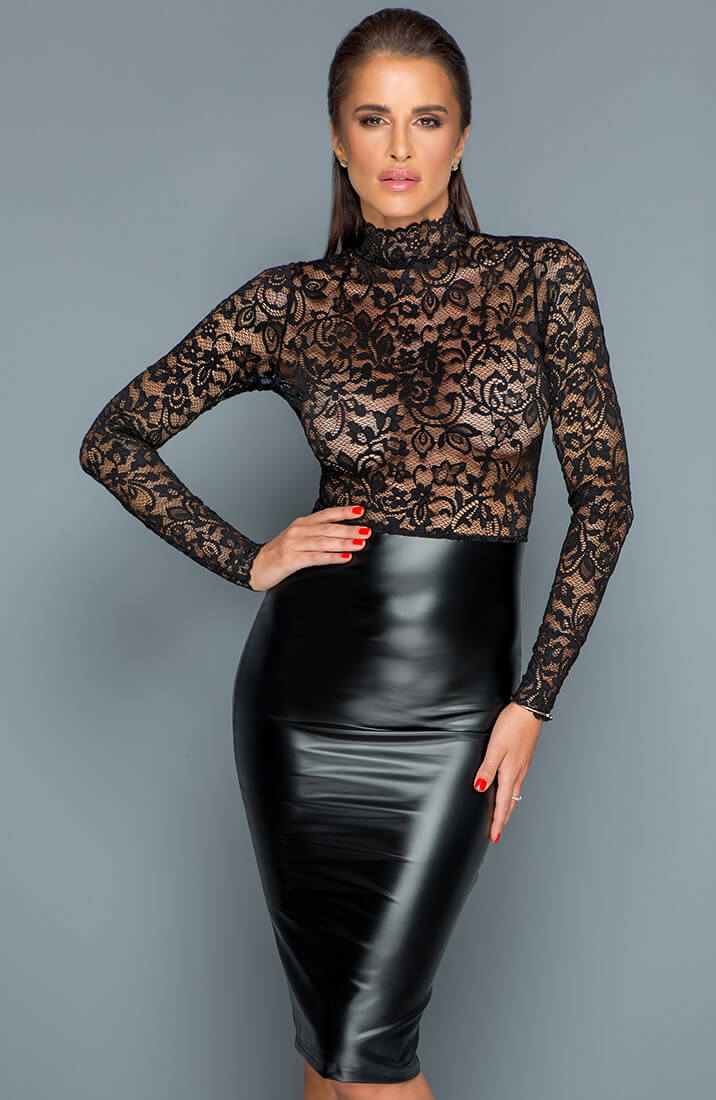 Lace & wet look pencil dress - Miss Behaved