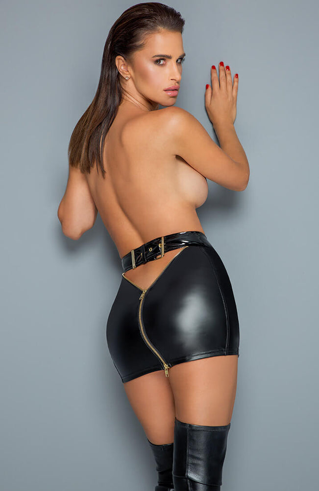 Wet look mini skirt with 2-way zip - Dip It Low