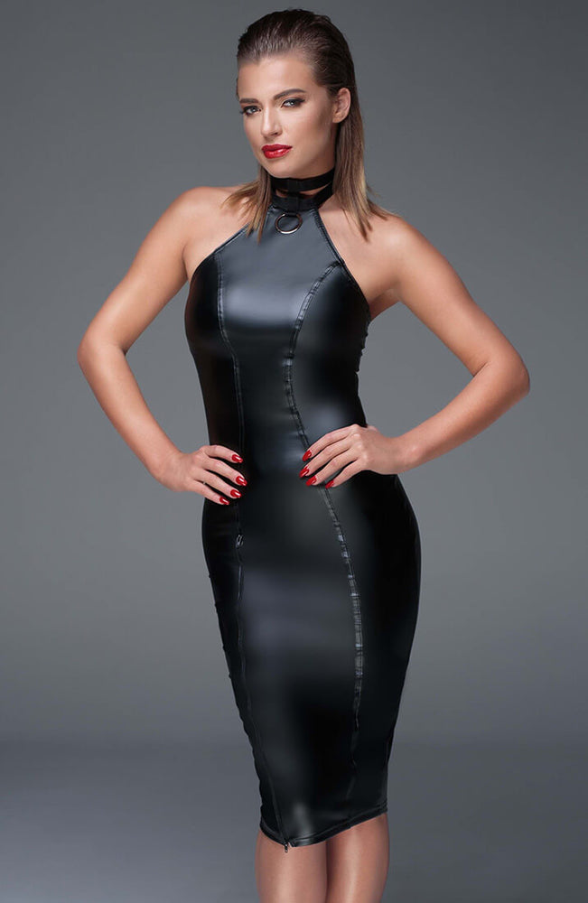 Wet look pencil dress - Crave Me