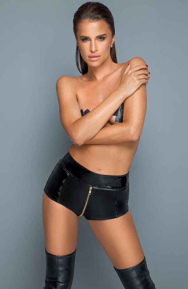 Wet look shorts with 2-way zip - ICONOLOGY