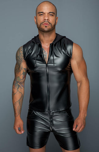 Sleeveless wet look shirt with hoodie - Hooded Bro